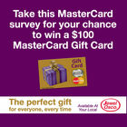 Take this MasterCard survey for your chance to win a $100 MasterCard Gift Card!