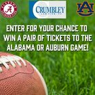 Win Tickets to the Auburn or Alabama Game - Crumbley Law Firm, PC Gameday Giveaway