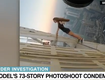 This is just crazy scary !! This model dangled a heart-stopping 73 stories above the ground for a photoshoot without permission