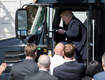 WATCH President Trump Pretends to Drive a Truck on White House Lawn