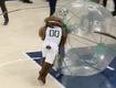 Utah Jazz Mascot Wipes Out Adult Clippers Fan!