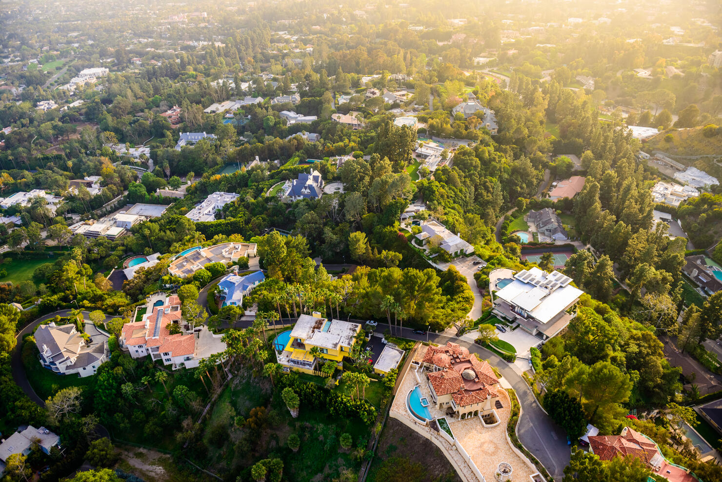 Beverly Hills mansions landscape aerial view -Los Angeles California