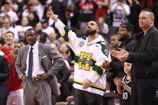 Rapper Drake and Kendrick Perkins Exchange Words During Halftime
