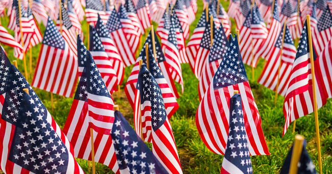 Memorial Day Flags Getty Stock Image