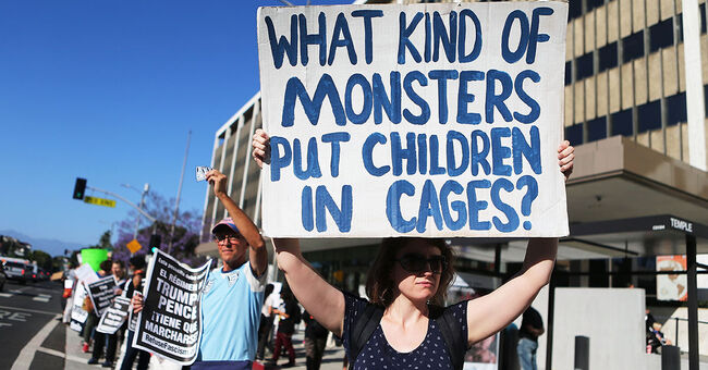 immigration migrant children cages border protest