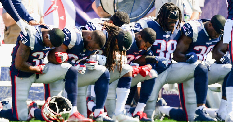 new england patriots players kneeling kneel national anthem nfl football