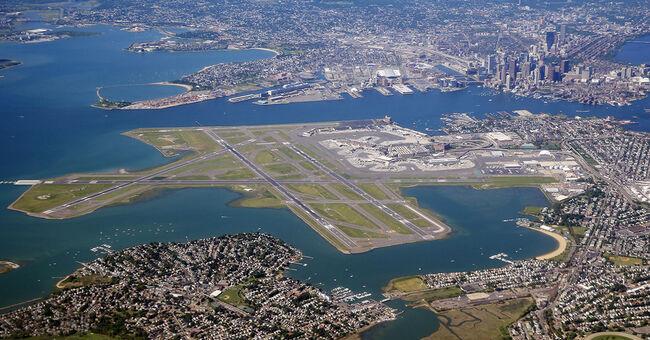 Logan Airport aerial view boston
