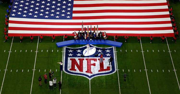 nfl national anthem flag sing