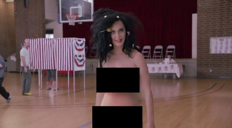 Katy Perry Strips Bare-Naked To Vote In Funny Or Die Skit