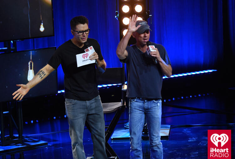BURBANK, CA - OCTOBER 27:  Bobby Bones (L) and Kenny Chesney attend the iHeartCountry Album Preview with Kenny Chesney at The iHeartRadio Theater LA on October 27, 2016 in Burbank, California.  (Photo by Joshua Blanchard/Getty Images for iHeartMedia)