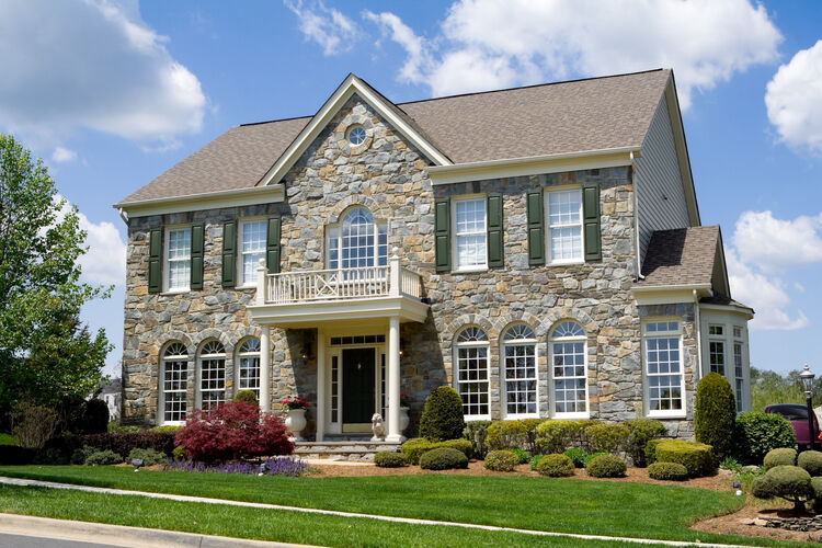 Front Stone Faced Single Family House Home Suburban Maryland