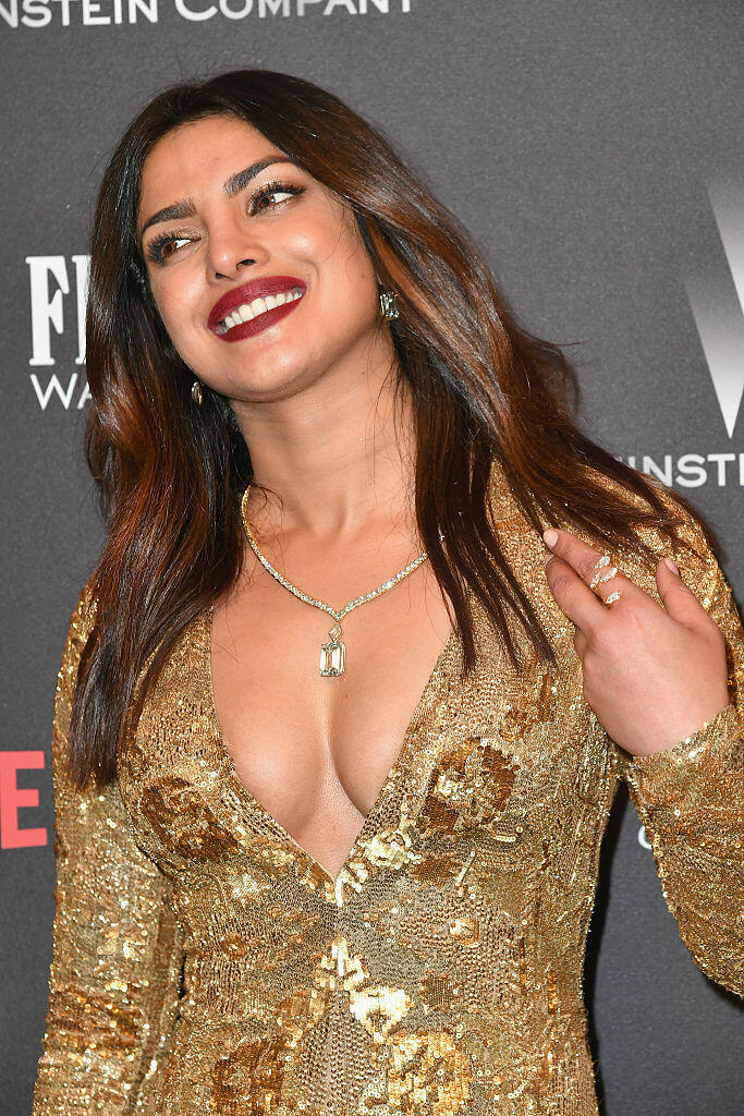 BEVERLY HILLS, CA - JANUARY 08:  Actress Priyanka Chopra attends The Weinstein Company and Netflix Golden Globe Party, presented with FIJI Water, Grey Goose Vodka, Lindt Chocolate, and Moroccanoil at The Beverly Hilton Hotel on January 8, 2017 in Beverly Hills, California.  (Photo by Earl Gibson III/Getty Images)