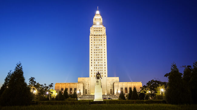 Louisiana State Capitol Building in Baton Rouge at Night