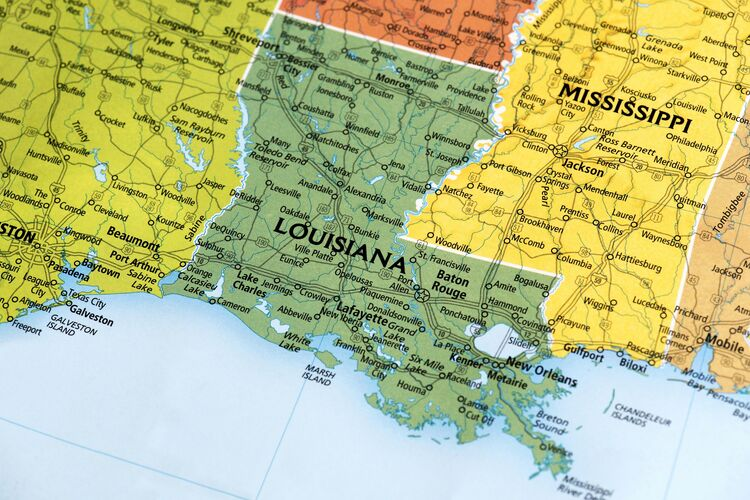 Map of Louisiana State in US