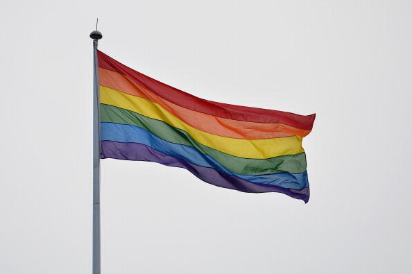 A rainbow gay pride flag flies on Whitehall in central London on March 28, 2014. The countdown drew closer on March 28 to the moment at midnight when same-sex marriage becomes law in England and Wales, the final stage in the long fight for equality for ga