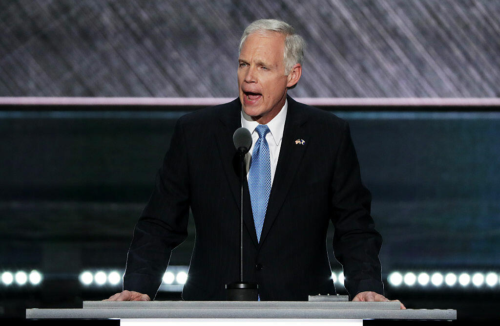 CLEVELAND, OH - JULY 19:  Sen. Ron Johnson (R-WI) delivers a speech on the second day of the Republican National Convention on July 19, 2016 at the Quicken Loans Arena in Cleveland, Ohio. Republican presidential candidate Donald Trump received the number of votes needed to secure the party's nomination. An estimated 50,000 people are expected in Cleveland, including hundreds of protesters and members of the media. The four-day Republican National Convention kicked off on July 18.  (Photo by Alex Wong/Getty Images)