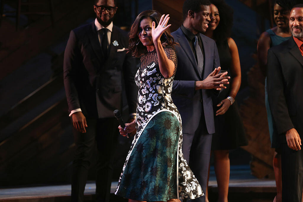 NEW YORK, NY - SEPTEMBER 19:  U.S. First Lady Michelle Obama departs after speaking to fellow first ladies, students and guests at Broadway's Jacobs Theater on September 19, 2016 in New York City. The event, called the United Nations General Assembly at Broadway's Jacobs Theater, showcased performances by The Color Purple, Waitress, Beautiful, and Wicked. Late Show host Stephen Colbert emceed the show. The purpose of the event was to continue to raise awareness for the Let Girls Learn initiative, launched by  President Obama and First Lady in March 2015, to help adolescent girls around the world go to school and stay in school.  (Photo by John Moore/Getty Images)