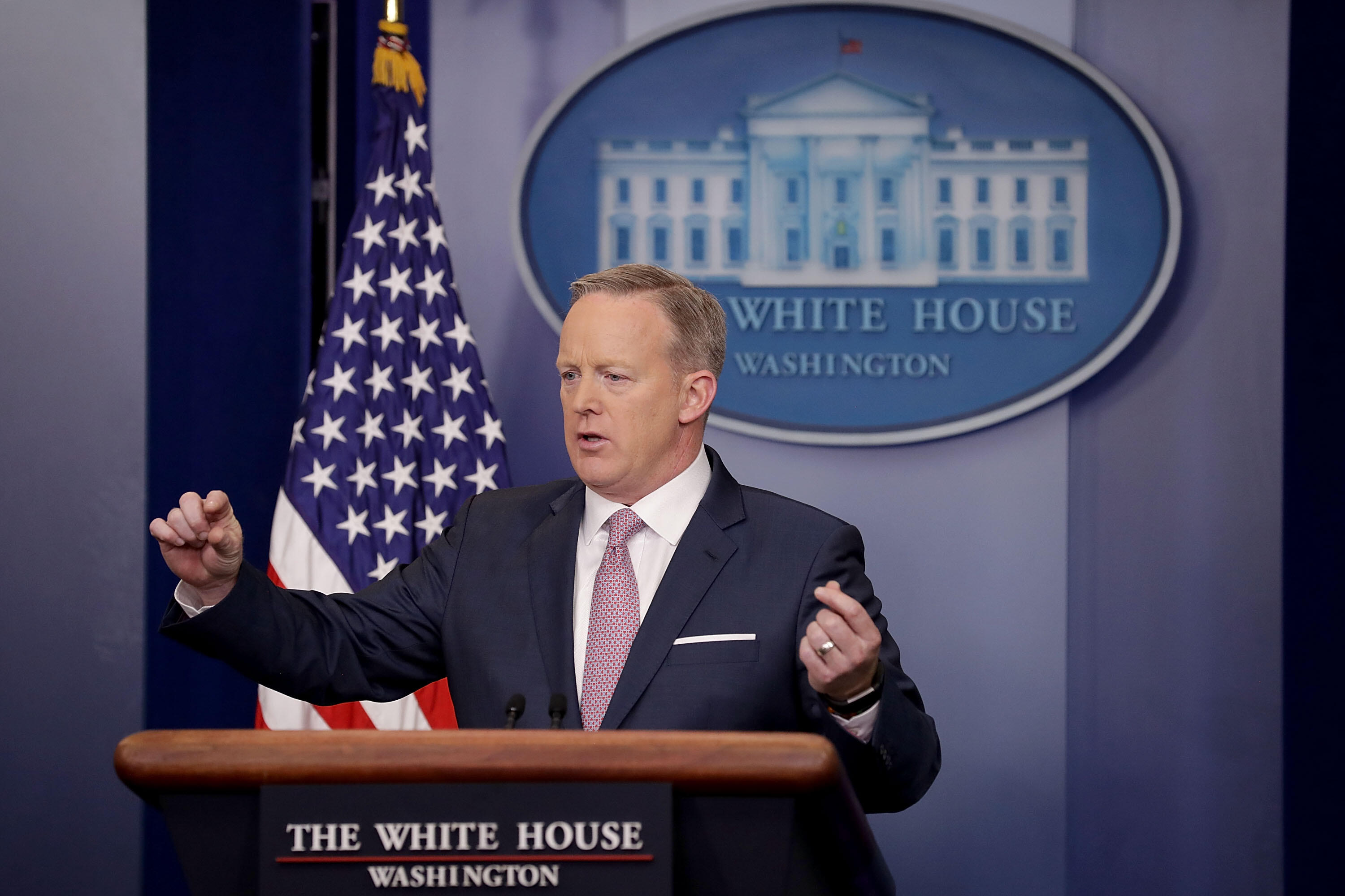 WASHINGTON, DC - JANUARY 23:  White House Press Secretary Sean Spicer holds the daily press briefing in the James Brady Press Briefing Room at the White House January 23, 2017 in Washington, DC. Other than delivering a statement on Saturday critical of re