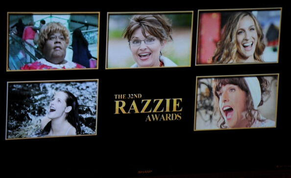 The nominees in the Worst Actress category are displayed on stage at the 32 annual Golden Raspberry or Razzies Awards, April 1, 2012 in Santa Monica, California.  Top row from left: Martin Lawrence as