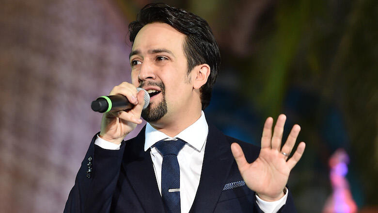 HOLLYWOOD, CA - NOVEMBER 14:  Songwriter Lin-Manuel Miranda speaks onstage at The World Premiere of Disney's