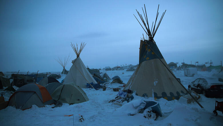 CANNON BALL, ND - DECEMBER 06:  Activists at Oceti Sakowin near the Standing Rock Sioux Reservation brace for sub-zero temperatures expected overnight on December 6, 2016 outside Cannon Ball, North Dakota. Native Americans and activists from around the co