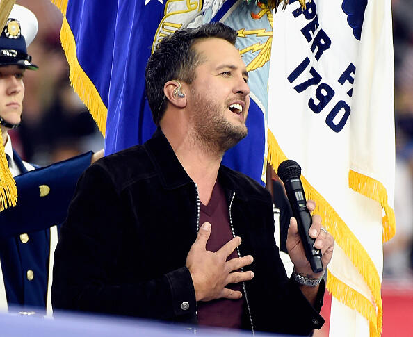 HOUSTON, TX - FEBRUARY 05:  Musician Luke Bryan performs onstage during the Super Bowl LI Pregame Show at NRG Stadium on February 5, 2017 in Houston, Texas.  (Photo by Kevin Mazur/WireImage)