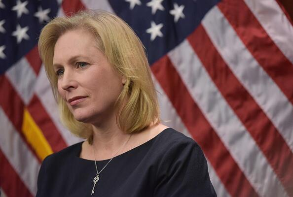Senator Kirsten Gillibrand, D-NY, listens to a speaker during a press conference to announce a new medical marijuana bill at the US Capitol on March 10, 2014 in Washington, DC. AFP PHOTO/MANDEL NGAN        (Photo credit should read MANDEL NGAN/AFP/Getty Images)