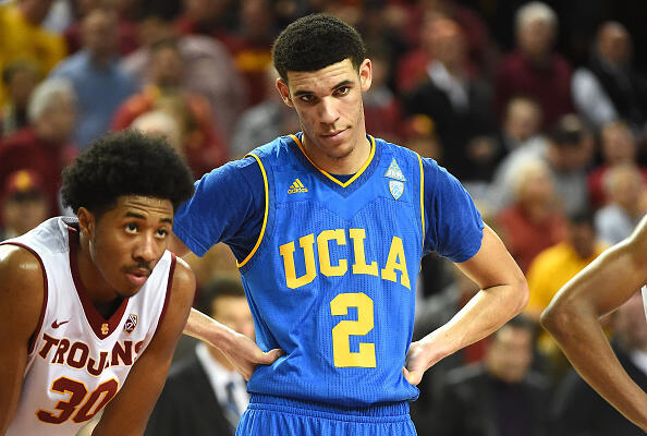 LOS ANGELES, CA - JANUARY 25:   Elijah Stewart #30 of the USC Trojans and Lonzo Ball #2 of the UCLA Bruins wait for a free throw in the first half of the game at Galen Center on January 25, 2017 in Los Angeles, California. Trojans won 84-76. (Photo by Jayne Kamin-Oncea/Getty Images)