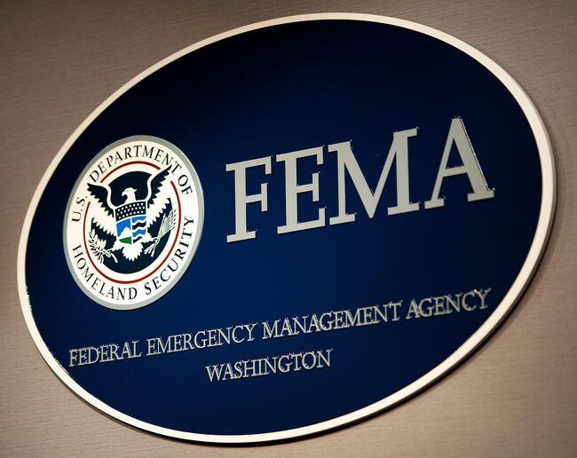 The FEMA logo seen August 26, 2011, shor