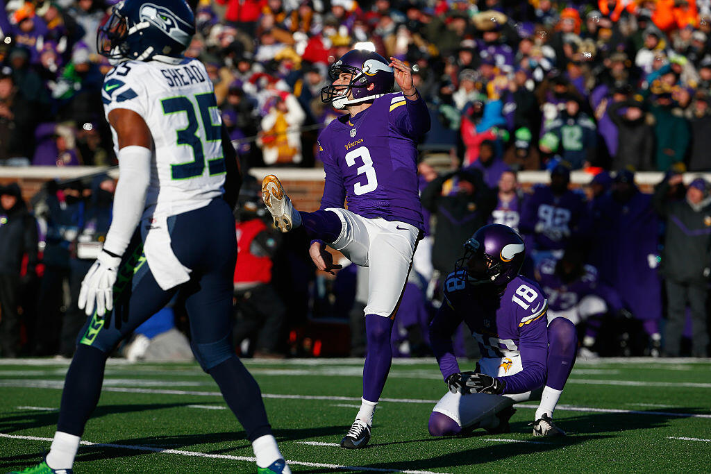 Blair Walsh #3 of the Minnesota Vikings misses a 27-yard field goal in the fourth quarter against the Seattle Seahawks during the NFC Wild Card Playoff game at TCFBank Stadium on January 10, 2016 in Minneapolis, Minnesota. The Seattle Seahawks defeat the Minnesota Vikings with a score of 10 to 9.  (Photo by Jamie Squire/Getty Images)