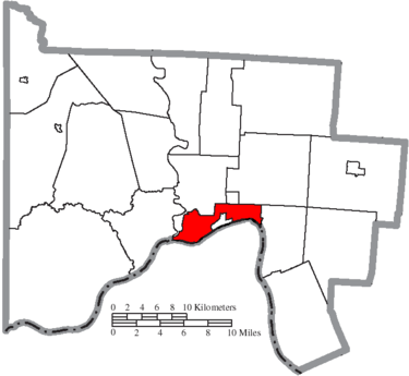 Scioto County outline map with city of Portsmouth