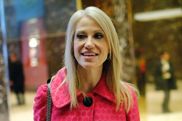 US President-elect Donald Trump's campaign manager Kellyanne Conway talks to the press as she arrives at the Trump Tower for meetings with US President-elect Donald Trump, in New York on November 17, 2016. / AFP / Eduardo Munoz Alvarez        (Photo credit should read EDUARDO MUNOZ ALVAREZ/AFP/Getty Images)