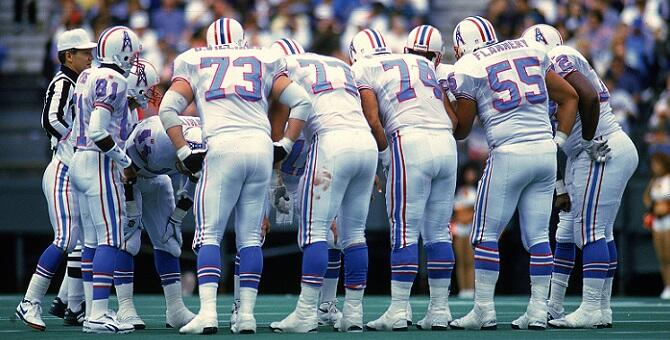13 Nov 1994:  The Oilers are in a huddle during the game against the Cincinnati Bengals at the Riverfront Stadium in Cincinnati, Ohio. The Bengals defeated the Oilers 34-31. Mandatory Credit: Jonathan Daniel  /Allsport