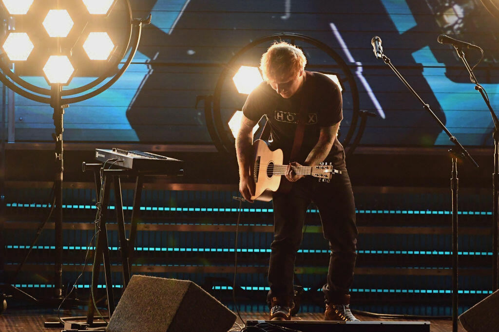 LOS ANGELES, CA - FEBRUARY 12:  Recording artist Ed Sheeran performs onstage during The 59th GRAMMY Awards at STAPLES Center on February 12, 2017 in Los Angeles, California.  (Photo by Kevin Winter/Getty Images for NARAS)