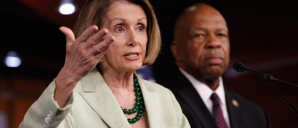 WASHINGTON, DC - MAY 26:  House Minority Leader Nancy Pelosi (D-CA) (L) and Rep. Elijah Cummings (D-MA) hold a news conference at the U.S. Capitol May 26, 2011 in Washington, DC. During her weekly press conference, Pelosi accused Republicans of wanting to