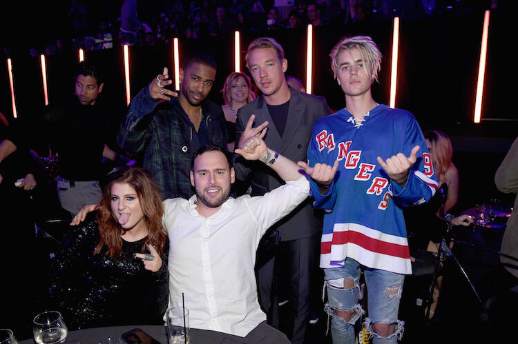 Big Sean with Diplo, Justin Bieber, and Meghan Trainor at the 2016 iHeartRadio Music Awards.