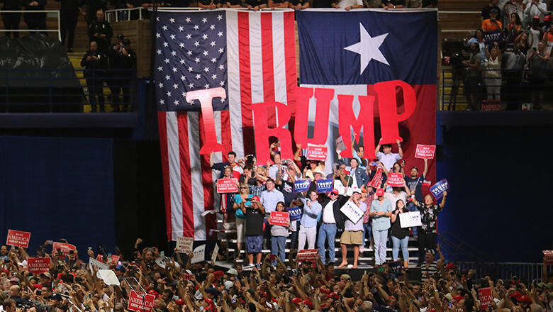 AUSTIN, TX - AUGUST 23:  Republican Presidential nominee Donald Trump arrives to address supporters on August 23, 2016 in Austin, Texas. Thousands of attended Trump's address in Austin, traditionally a a progressive bastion in conservative Texas.  (Photo