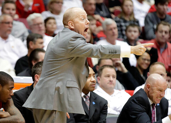 CINCINNATI, OH - FEBRUARY 04: Mick Cronin the head coach of the Cincinnati Bearcats gives instructions to his team during the game against the Connecticut Huskies at Fifth Third Arena on February 4, 2017 in Cincinnati, Ohio. (Photo by Andy Lyons/Getty Images)