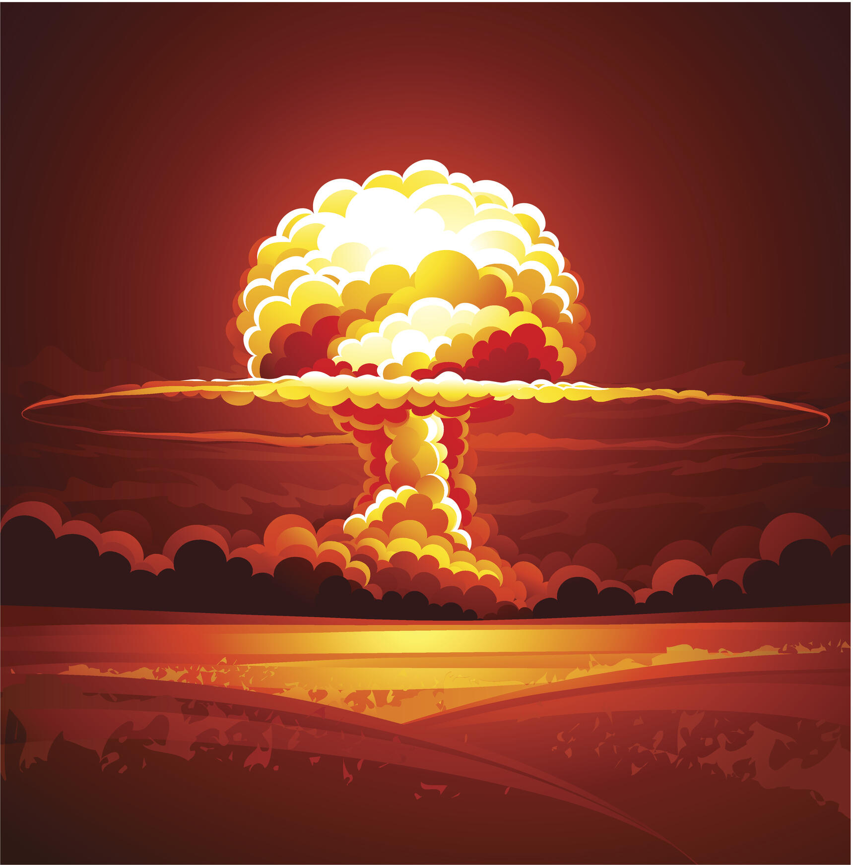 Nuclear explosion in thick smoke. Vector illustration