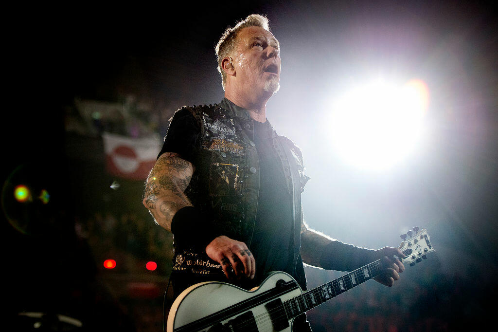 This picture taken on February 3, 2017 shows Metallica's American lead vocalist and rhythm guitarist James Hetfield as he performs during the opening of the new Royal Arena in Copenhagen. The concert was completely sold out. / AFP / Scanpix / Nils Meilvang / Denmark OUT        (Photo credit should read NILS MEILVANG/AFP/Getty Images)
