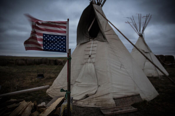 WINNER, SD - OCTOBER 12:  A spiritual camp, set up by numerous Native American tribes in protest over the proposed Keystone XL pipeline, is seen near the spot where the pipeline would pass on October 12, 2014 outside Winner, South Dakota.  (Photo by Andrew Burton/Getty Images)