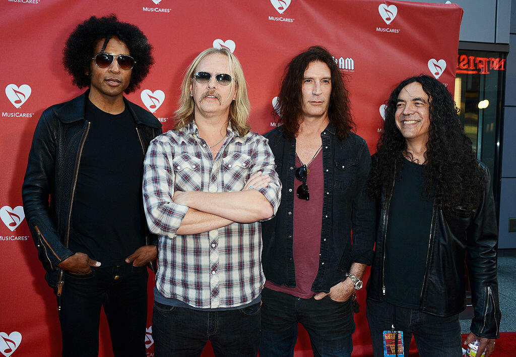 LOS ANGELES, CA - MAY 31:  (L-R) Musicians William DuVall, Jerry Cantrell, Sean Kinney and Mike Inez of the band Alice in Chains arrive at the 8th Annual MusiCares MAP Fund Benefit at Club Nokia on May 31, 2012 in Los Angeles, California. The MusiCares MA