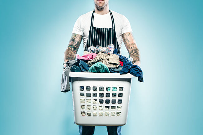 Dad with Tattoos Does Laundry