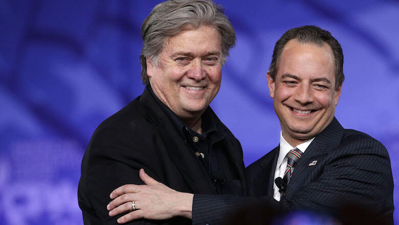 NATIONAL HARBOR, MD - FEBRUARY 23:  White House Chief of Staff Reince Priebus (R) and White House Chief Strategist Steve Bannon (L) arrive on stage for a conversation during the Conservative Political Action Conference at the Gaylord National Resort and C