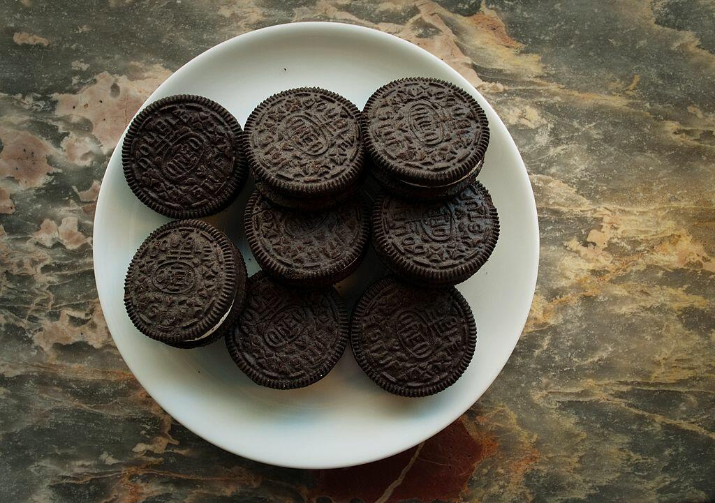 A March 7, 2012 photo shows a plate of Oreo cookies in Washington, DC.  Technically they're