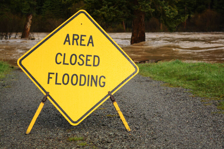 Yellow Area Closed Flooding Sign