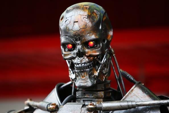 BARCELONA, SPAIN - MAY 09:  The Terminator robot is seen in the paddock following qualifying for the Spanish Formula One Grand Prix at the Circuit de Catalunya on May 9, 2009 in Barcelona, Spain.  (Photo by Clive Mason/Getty Images)