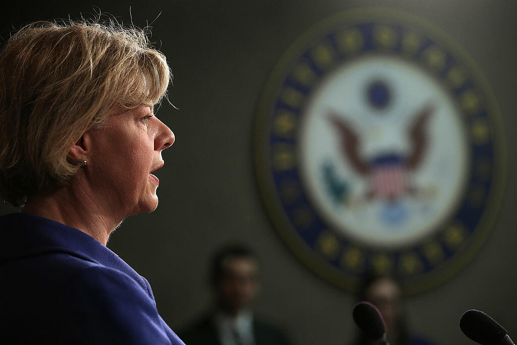 WASHINGTON, DC - MARCH 21:  Sen. Tammy Baldwin (D-WI) speaks during a news conferene at the U.S. Capitol March 21, 2013 in Washington, DC. Baldwin and fellow senators held the news conference to criticize the House of Representatives for passing House Bud