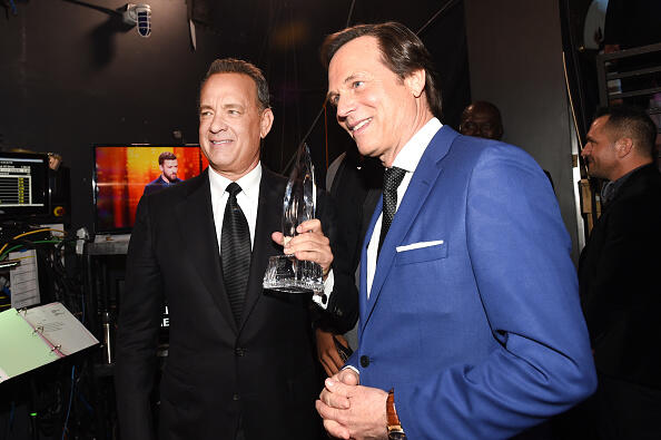 LOS ANGELES, CA - JANUARY 18:  Actor Tom Hanks (L), winner of the Favorite Dramatic Movie Actor award, and actor Bill Paxton attend the People's Choice Awards 2017 at Microsoft Theater on January 18, 2017 in Los Angeles, California.  (Photo by Emma McIntyre/Getty Images for People's Choice Awards)