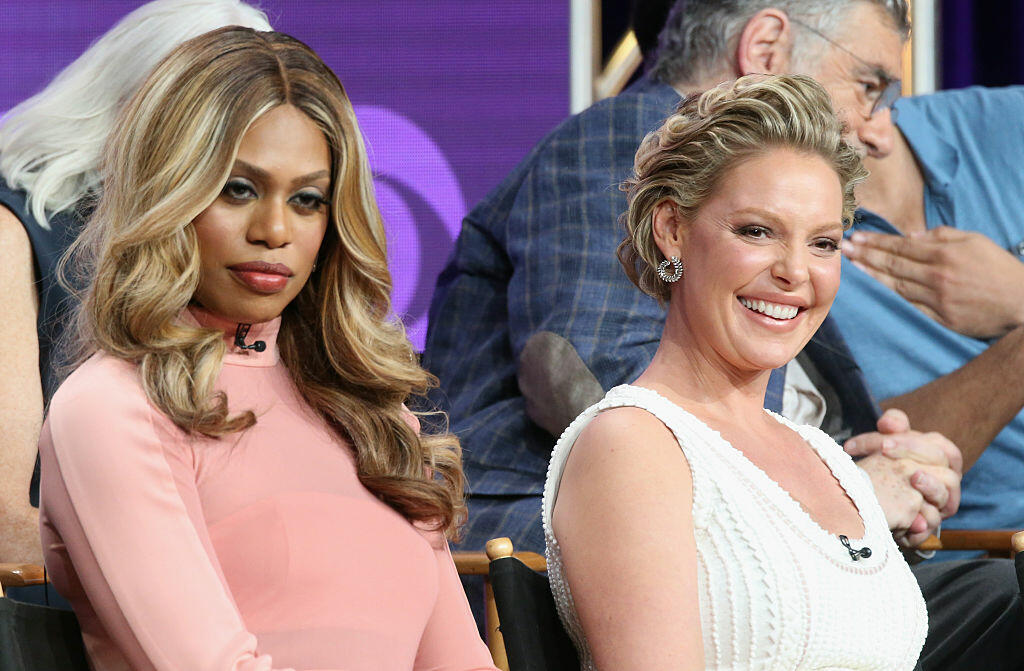 BEVERLY HILLS, CA - AUGUST 10:  Actors Laverne Cox and Katherine Heigl speak onstage at the 'Doubt' panel discussion during the CBS portion of the 2016 Television Critics Association Summer Tour at The Beverly Hilton Hotel on August 10, 2016 in Beverly Hills, California.  (Photo by Frederick M. Brown/Getty Images)